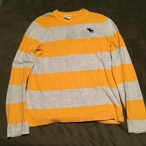 Abercrombie Kids Yellow and Grey MUSCLE SWEATER XL